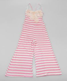 This precious piece is sure to make a fun fashion statement! An all-in-one outfit makes getting dressed easy, and soft and stretchy fabric and wide legs ensure little ladies stay comfy-as-can-be all day!