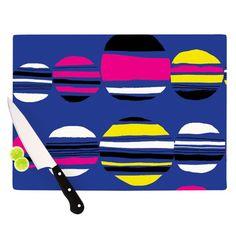 "Kess InHouse Emine Ortega 'Retro Circles Cobalt' Multicolored Glass Cutting Board (Large 11.5"" x 15.75""), Multi"