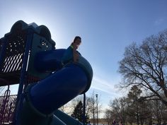 Climbing a slide before volleyball practice!!!