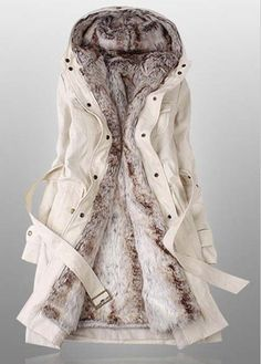 Beige Hooded Coat Jacket Outwear