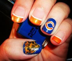 Chicago Bears Nails I would totally do this!