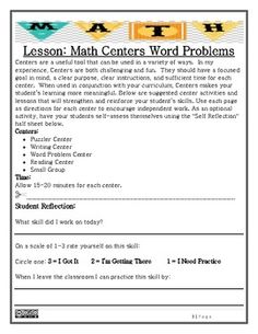 Math Centers Word Problems - Single & Multi-Step