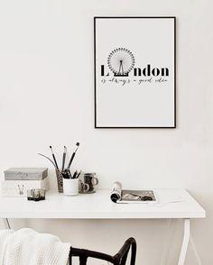 London is always a good Idea Printable Wall Art, Scandinavian Design Poster Print White Wall Art, Large Wall Art, Home Printers, Frame It, Typography Poster, Scandinavian Design, Printable Wall Art, Online Printing, Poster Prints