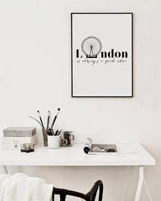 "Typographic Print ""London is always a good Idea"", Printable Poster, Scandinavian Style Print, Instant Download Art, Poster 50x70 Handmade"
