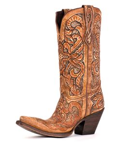 Women's Caramel and Tan Hand Tooled Las Cruces Boot
