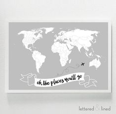 Oh The Places You'll Go WORLD MAP  Kid Room by letteredandlined
