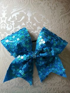 Turquoise Sequin Cheer Bow by GlamourBowsByAnna on Etsy