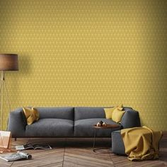 Find Superfresco Easy Paste the Wall Triangolin Wallpaper - Mustard at Homebase. Visit your local store for the widest range of paint & decorating products. Living Room Sofa Design, Living Room Interior, Living Room Designs, Classic Interior, Living Room Inspiration, Room Colors, Interior Design, Furniture, Home Decor