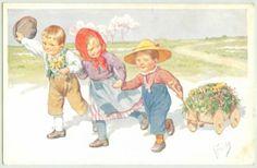 Feiertag - Vintage Postcard Children bringing Grass Wooden Hand Drown cart