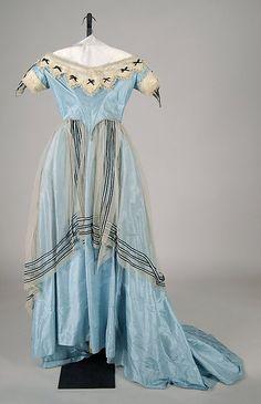 Evening dress Date: ca. 1865 Culture: American Medium: Silk Accession Number: 2009.300.7834a, b