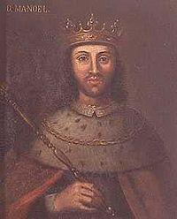 """Dom Manuel I de Portugal (1469 —1521) foi o 14.º Rei de Portugal, cognominado O Venturoso, O Bem-Aventurado ou O Afortunado tanto pelos eventos felizes que o levaram ao trono, como pelos que ocorreram no seu reinado. Prosseguiu as explorações portuguesas iniciadas pelos seus antecessores, o que levou à descoberta do caminho marítimo para a Índia, do Brasil e das ambicionadas """"ilhas das especiarias"""", as Molucas, determinantes para a expansão do império português."""
