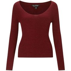 Miss Selfridge Red V-Neck Ribbed Knitted Jumper found on Polyvore featuring tops, sweaters, red, red jumper, v-neck sweater, v neck jumper, v-neck tops and red top