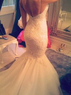 Long Sleeve Sweetheart Lace Wedding Dress Mermaid by Whitesrose.... i want this bottom/pattern, but with just lace on the top and half sleeves