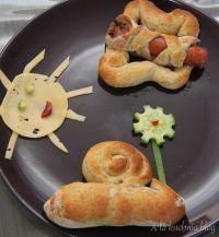 drożdżowe motyle ślimaki parówki dla dzieci ciasto