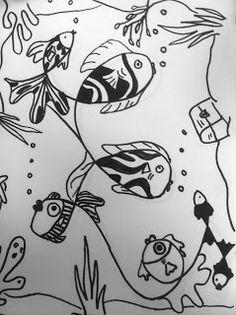 Art Sub Lessons: Loopy Line Fish