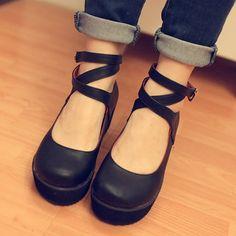 Tendance Chaussures   图复古 松糕 厚底 英伦绑带皮鞋s169  美丽说