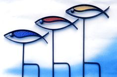 YardBirds Outdoor Decor YardFish Collection - Beautiful Metal Art Sculptures with Stained Glass Inlays