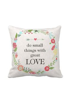 Pillow Cover Floral Wreath Fall Decor Inspirational Cotton and Burlap Pillow Cover