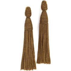Oscar de la Renta Long Chain Tassel Earrings (765 BAM) ❤ liked on Polyvore featuring jewelry, earrings, jewels, accessories, gold, oscar de la renta, long chain earrings, oscar de la renta jewelry, tassle earrings and tassel jewelry
