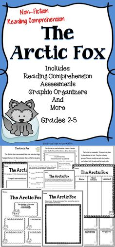 The Arctic Fox - A non-fiction reading comprehension activity pack to help students develop their reading comprehension skills. #tpt #Reading #literacy