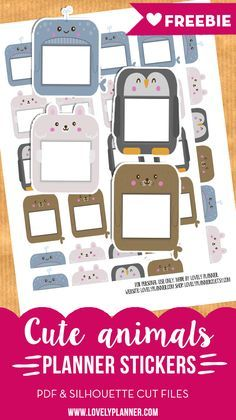 Free printable: animal planner stickers for your planner - PDF and Silhouette cut file included. More planner freebies on lovelyplanner.com