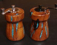 Handmade Wooden Salt and Pepper Grinders~Handmade Salt and Pepper Mills~Turquoise Inlay