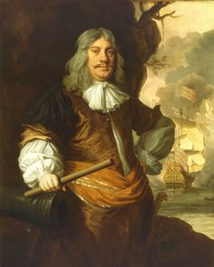 Cornelis Tromp, 1629-91 - National Maritime Museum.  The stern of his flagship 'Gouden Leeuw' (Golden Lion) in action at the Battle of the Texel, 1673, to the right flying the Amsterdam double-prince ensign and flag appropriate to his rank as Lieutenant-Admiral of Holland. He was a friend of King Charles II and this portrait was painted when Tromp visited London in 1675 and Charles II made him a baronet.