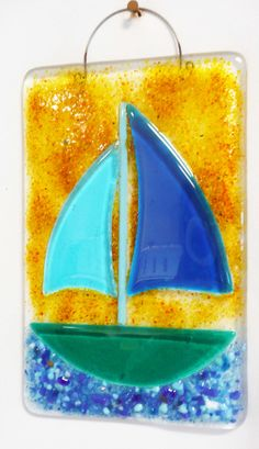 making this when we schedule our class! Fused Glass Wall Tile! Sailboat!  www.coppermstudio.com