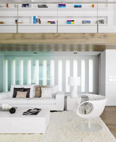 Elegant and Beautiful House by the Sea  white leather furniture living room