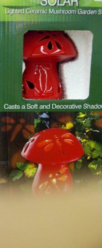 Solar Lighted Ceramic Mushroom Garden Stake Red . $34.99. Garden Light. Red Ceramic Mushroom. Solar Powered. Unusual red mushroom solar-powered light for your garden.