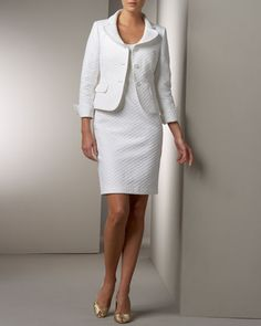 WRONG color for wedding, but like the suit very much. Diamond-Textured Jacket & Dress Set by Albert Nipon at Neiman Marcus.
