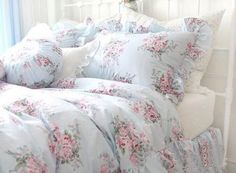 (Click to order - $119.99) Shabby and elegant Pretty Blue Roses Cotton 4pc Bedding Sheet Set From Victoria's Deco