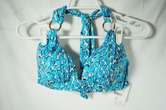 Liz Claiborne Womens Swimsuit Top Size 8 Bikini Top Only Blue and White #LizClaiborne #BikiniTop