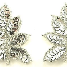 """Leaf Pair Silver Sequins and Beads 2.5"""" x2"""""""