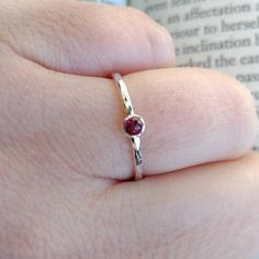 Sterling Silver Garnet Ring w/ Simple Hammered Band Garnet Stone, Garnet Rings, Red Garnet, Rose Gold Engagement Ring, Diamond Wedding Bands, Thin Gold Rings, Pave Ring, Boho Rings, Gemstone Rings