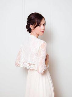 Lace Bridal Jacket Ivory Lace wedding shawl by DavieandChiyo