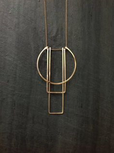 Geometric Gold Necklace Simple Totem Necklace L.Greenwalt Jewelry Bow Jewelry Sterling Silver Gold Deco Geometric Architectural - Simple Totem Necklace – Loop Jewelry Shaped and forged pendant lightweight and easy to carry wi - Bow Jewelry, Art Deco Jewelry, Metal Jewelry, Fine Jewelry, Jewelry Necklaces, Jewellery Box, Jewellery Shops, Jewelry Armoire, Jewellery Making