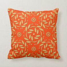 Gold Pattern, Toss Pillows, Custom Pillows, Orange, Floral, Modern, Fabric, Gender, Window