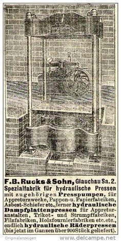 Original-Werbung/ Anzeige 1910 - HYDRAULICHE PRESSEN / RUCKS & SOHN - GLAUCHAU  - ca. 50 x 90 mm