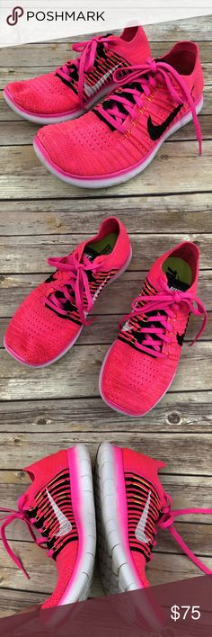 Nike Free Rn Flyknit, bright pink Bright/neon pink NIke Free Rn Flyknit. Lightweight running sneakers. Light wear. Nike Shoes Sneakers