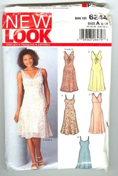Womens Dress snd Slip Dress Pattern 6244 New Look Patterns (Orio, Hinges Book One cosplay dress) Summer Dress Patterns, Dress Making Patterns, Easy Sewing Patterns, Clothing Patterns, Sewing Clothes, Diy Clothes, Dress Sewing, Sewing Dresses For Women, Ladies Clothes
