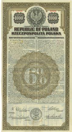 Republic of Poland Warschau, 01.04.1920, 6 % US-$ Gold Bond über US-$ 1.000, #D2938, 36,5 x 19,3 cm, braun, schwarz, Knickfalten quer, KR, zweisprachig: Englisch, Polnisch, nicht entwertet.