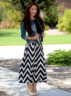 Get Excited Ladies! This chevron maxi dress is sure to become your favorite go to dress. Pair it with heels and a bomber jacket for a very chic fall look. Features a high elastic waistband and chevron print bottom.