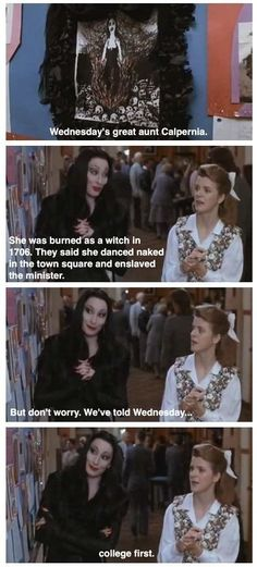 Morticia always prioritizes Wednesday's education. | Community Post: 16 Reasons The Addams Family Is The Best Family Ever
