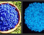 "Glow in the Dark Glass ""Medium Blue"" 96 COE Handmade Glow Glass Frit 1/4 Pound. $35.00, via Etsy."