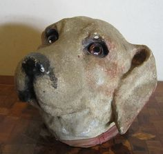 ANTIQUE vintage candy container, dog paper mache, hunting dog, hound RARE, early 1900's, vg condition!