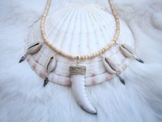 Cowrie Shell Heishi Necklace. Cowrie Shell Necklace, Shell Necklaces, Tassel Necklace, Shell Display, Diy Jewelry, Jewellery, Antique Silver, Shells, Dangles