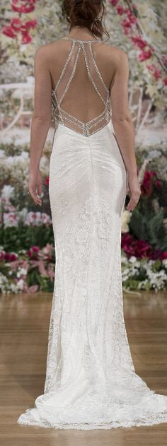 Wedding Dress by Maggie Sottero Fall 2017 NYBFW Runway Show / Sinclaire shimmers in lace and crystals