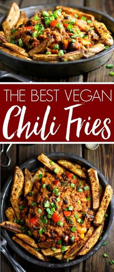 The Best Vegan Chili Fries! Made with quinoa and healthy ingredients, but they don't taste healthy! My all-time favorite chili fries.