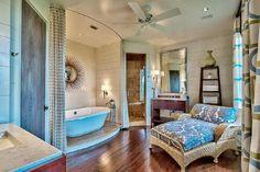 beautiful bathroom with hardwood flooring